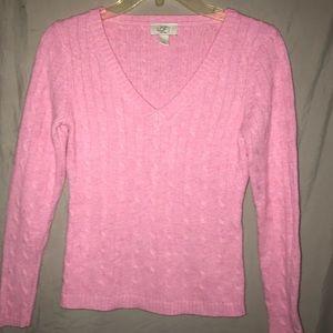 LOFT pink cable knit rabbit hair blend sweater
